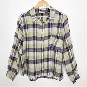 CP Shades Plaid Linen Button Down Shirt Medium